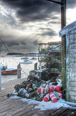 Photograph - Winter On The Lobster Wharf by John Meader
