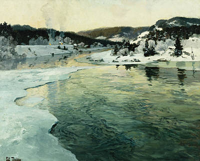 Winter On The Mesna River Near Lillehammer Art Print