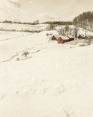 Buidling Photograph - Winter On The Old Farm by Edward Fielding