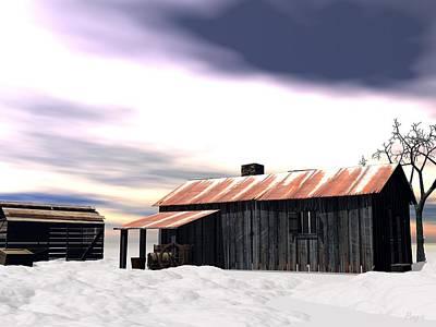 Vintage Digital Art - Winter On The Plains by John Pangia