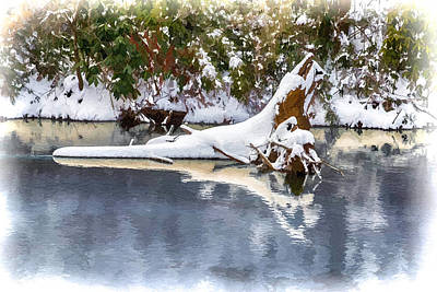 Snowstorm Painting - Winter On The Swannanoa by John Haldane