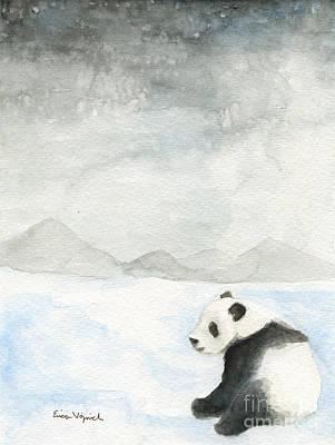Panda Cub Painting - Winter Panda by Erica Vojnich