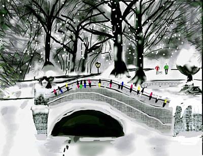 Park Scene Digital Art - Winter Park In Ny by Gene Derow