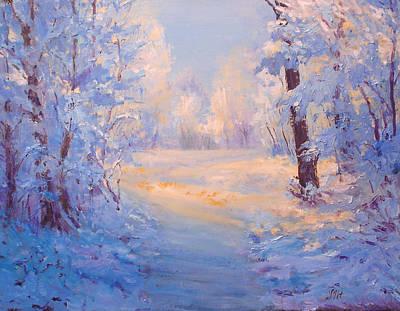 Winter Path. Art Print by Julia Utiasheva