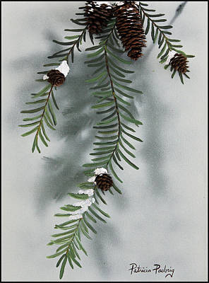 Winter Pine Cones Original by Patricia Pasbrig