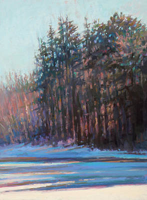 East Sandwich Painting - Winter Pines by Ed Chesnovitch