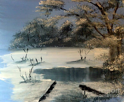Painting - Winter Pond Of Peace by Crystal Schaan