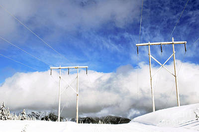 Photograph - Winter Power Lines by Bill Thomson