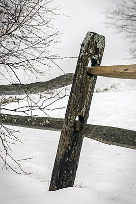 Winter Rail Fence Art Print
