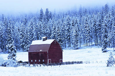 Winter Red Barn Art Print by Mark Kiver