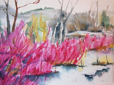 Painting - Winter Redtwig Dogwoods by Barbara McGeachen