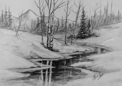 Steele Drawing - Winter Reflection by Chris Steele