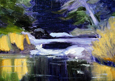 Wa Painting - Winter River by Nancy Merkle