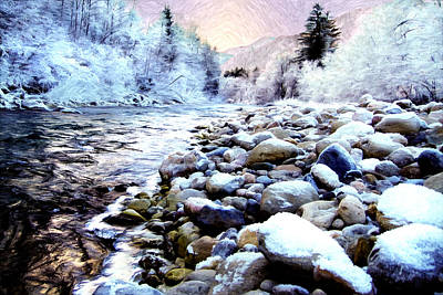 Winter River Print by Sabine Jacobs