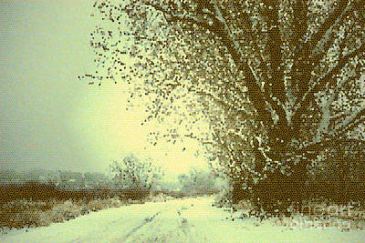 Blue And Brown Photograph - Winter Road Abstract  by Carol Groenen