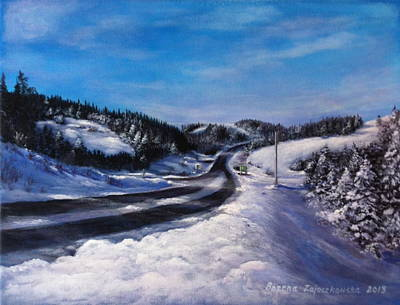 Painting - Winter Road by Bozena Zajaczkowska