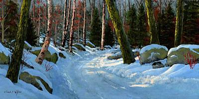 Snow Scene Painting - Winter Road by Frank Wilson
