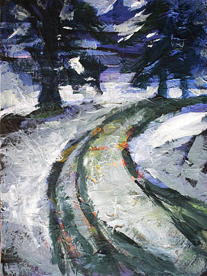 Northeast Painting - Winter Road by Nancy Merkle