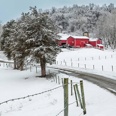 Red Barn In Winter Photograph - Winter Road Square by Bill Wakeley