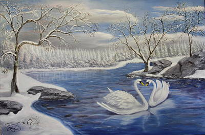 Reflections Of Sky In Water Painting - Winter Romance by Lou Magoncia