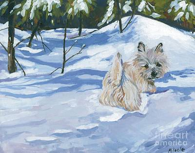 Dog In Snow Painting - Winter Romp by Molly Poole