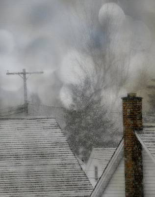 Telephone Poles Photograph - Winter Rooftops by Gothicrow Images