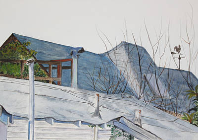 Painting - Winter Rooftops In Berkeley by Asha Carolyn Young