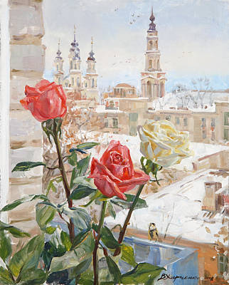 Roses Royalty-Free and Rights-Managed Images - Winter roses by Victoria Kharchenko