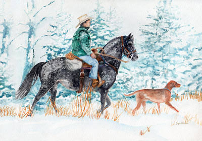 Working Cowboy Painting - Winter Roundup by Joyce Hinkson