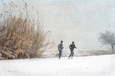 Winter Runners Art Print by Betty LaRue