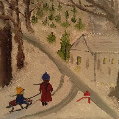 New England Snow Scene Painting - Winter Scene 1 by Angel Griffin