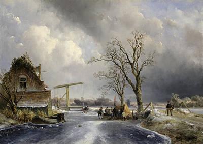 Winter Scene, 1846 Art Print by Johan-Barthold Jongkind