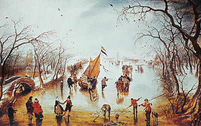 Skating Painting - Winter Scene by Adriaen Pietersz van de Venne