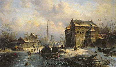 Skating Painting - Winter Scene by Charles-Henri-Joseph Leickert