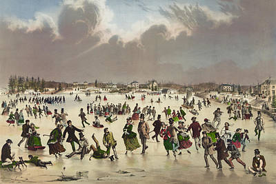 Sports Paintings - Winter scene circa 1859 by Aged Pixel