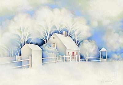 New England Snow Scene Painting - Winter Scene by Fredric G Henderson