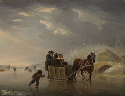 Winter Scene, Horse-sleigh On The Ice, Andries Vermeulen Art Print by Litz Collection