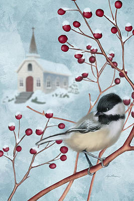 Chickadee Digital Art - Winter Scene I by April Moen