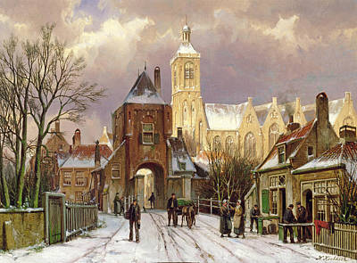 Snow Scene Painting - Winter Scene In Amsterdam by Willem Koekkoek