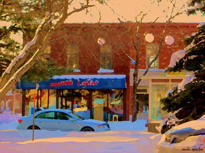 Winter Scene In Verdun Poutine Lafleur Rue Wellington Snowy Day In Montreal Carole Spandau Art Print by Carole Spandau