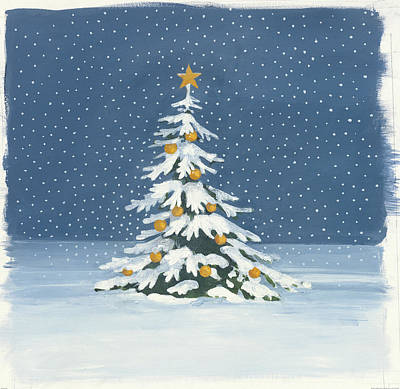 Christmas Trees Painting - Winter Scene Iv by Wild Apple Portfolio