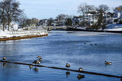 Photograph - Winter Scene Jersey Shore Town by Maureen E Ritter