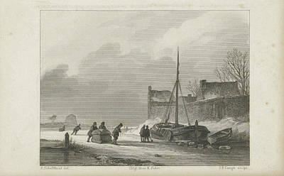 Winter Scene, Johannes Philippus Lange, Koenraad Fuhri Art Print by Quint Lox