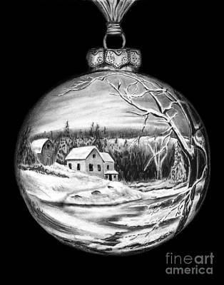 Drawing - Winter Scene Ornament by Peter Piatt