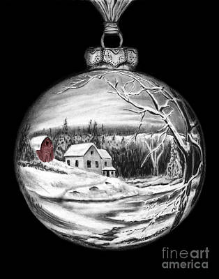 Drawing - Winter Scene Ornament Red Barn  by Peter Piatt