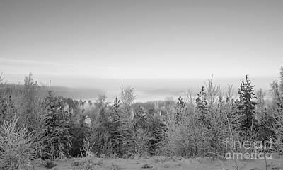 Photograph - Winter Scenery Of Lake Hiidenvesi Bw by Ismo Raisanen