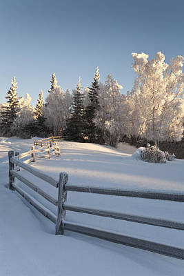 Winter Scenic Of Split Rail Fence And Art Print