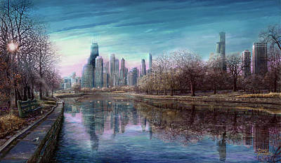 Hancock Building Digital Art - Winter Serenity Deep by Doug Kreuger