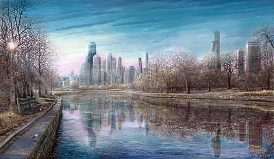 Hancock Building Digital Art - Winter Serenity Frost by Doug Kreuger