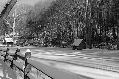 Winter Shack In Black And White Print by Paul Ward